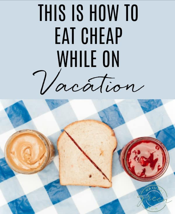 Blue White Check Background with jar of peanut butter, jar of jelly, and sandwich on top. Title reads: This is how to eat cheap while on vacation