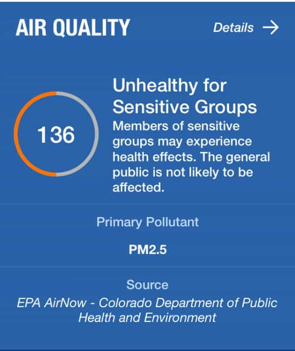 Snap shot of air quality provided by the weather channel app as a way to protect yourself from smokey air