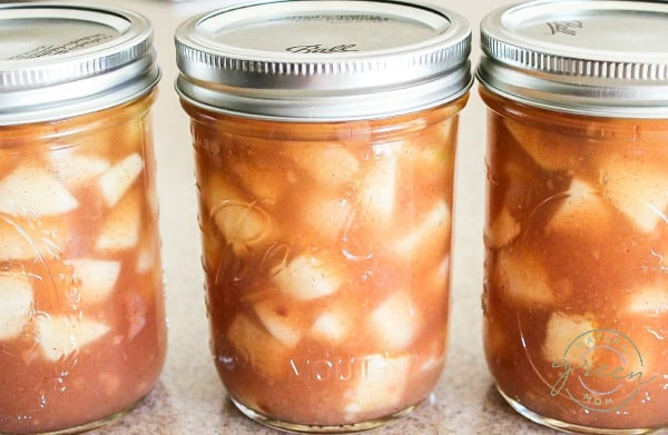 Canning jars filled with apple pie filling