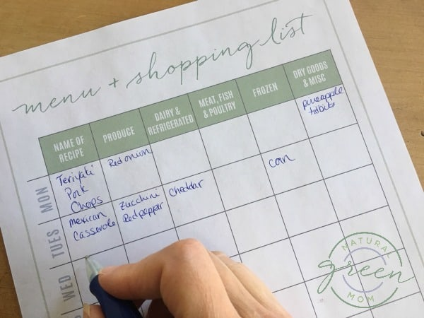 Writing recipes on a menu and shopping list as part of meal planning basics