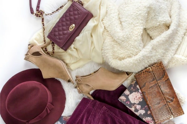 capsule wardrobe in maroon where all pieces coordinate.