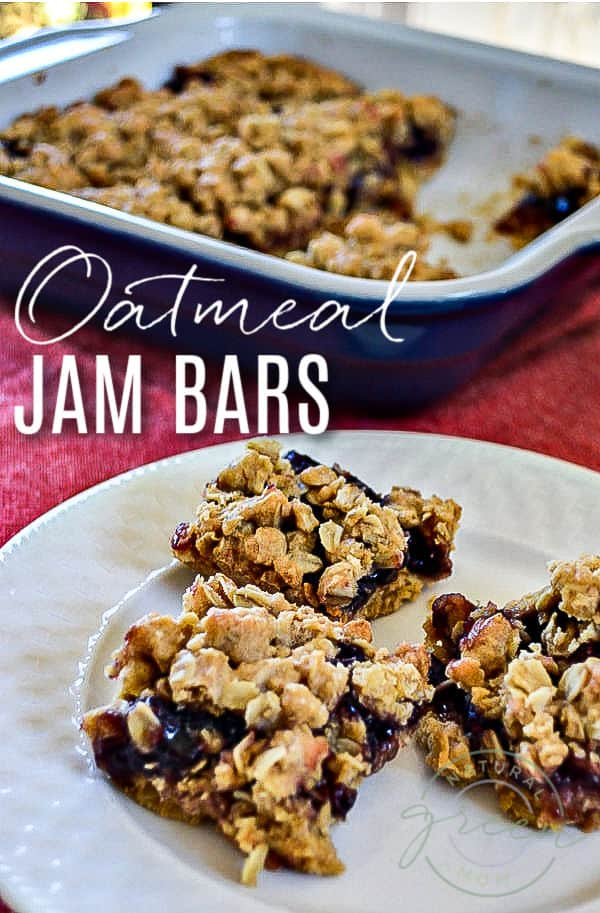 Plate of oatmeal jam bars