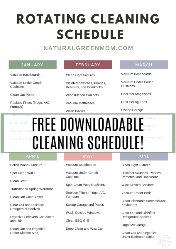 Rotating Cleaning Schedule with months and cleaning or decluttering tasks assigned to each month.