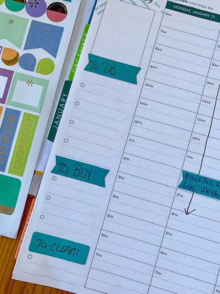 Erin Condren Life Planner with notes section showing where I add my rotating cleaning tasks under the subtitle TO CLEAN