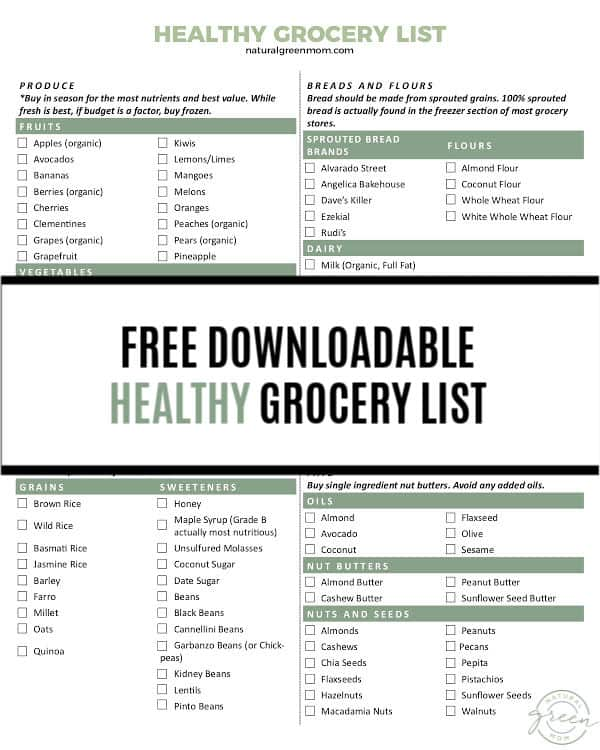 FREE Downloadable Healthy Grocery List - Natural Green Mom