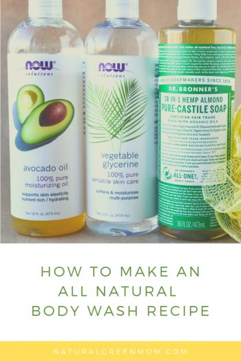 Bottles of avocado oil, vegetable glycerin, and Castile soap used to make all natural body wash