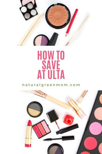 Make-up on white background with title How to Save At Ulta