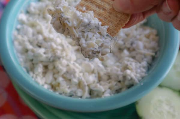 Three Ingredient Cottage Cheese Dip Recipe served in a blue bowl on a colorful background.