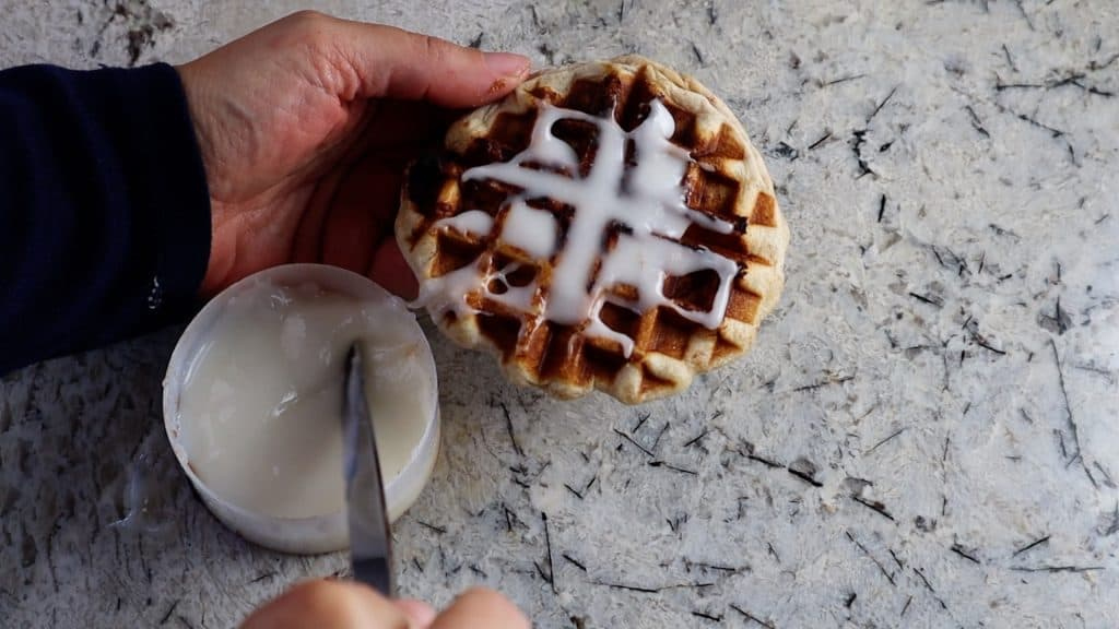 Use the cinnamon roll waffle maker shortcut to create plenty of indents perfect for filling with frosting.