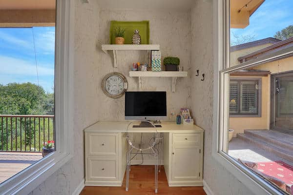 Desk and shelves as part of a small home office