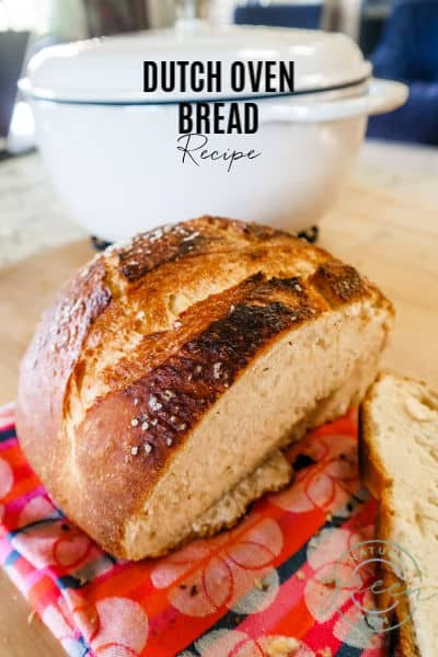 This Recipe for Dutch Oven Bread produces a round loaf of bread with a crispy outside and tender inside