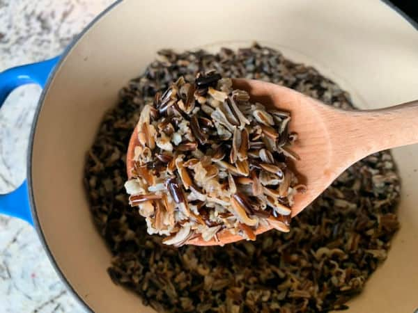 Close up of perfectly cooked Trader Joe's wild rice.