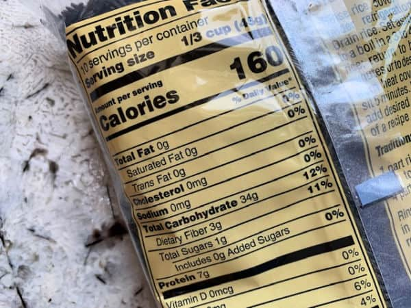 The nutritional information of Trader Joe's wild rice.