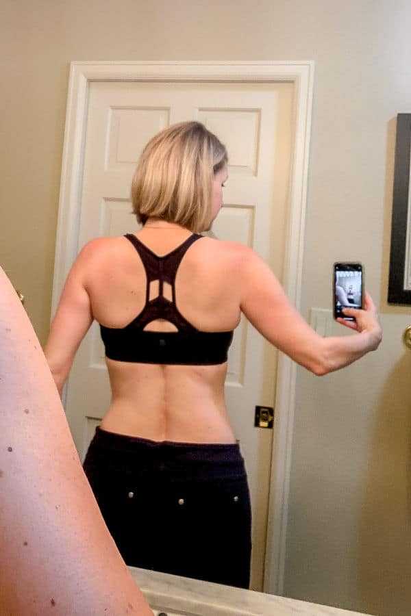 Selfie from the back showing successful weight loss after 50