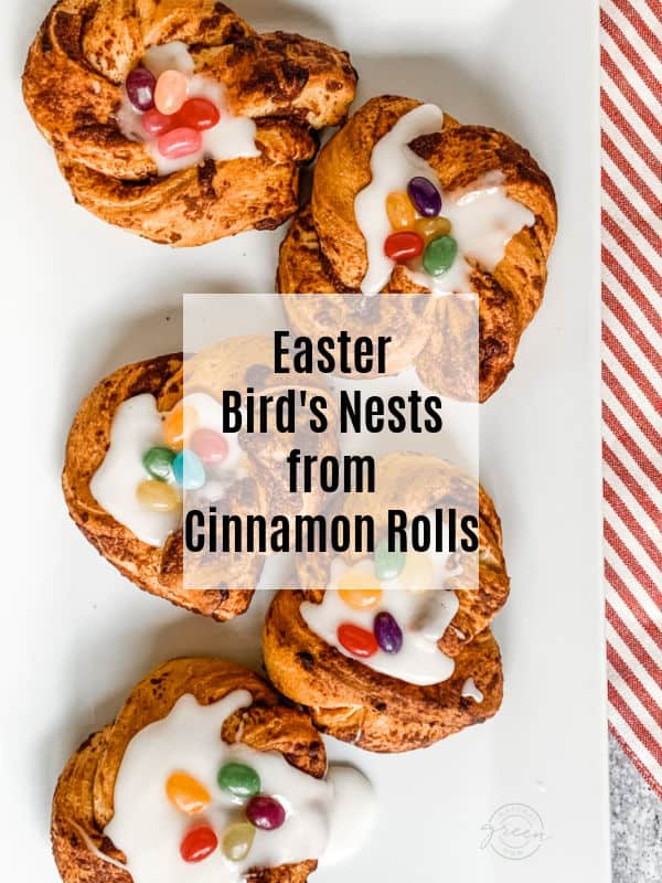 """Display of Easter bird's nests made from refrigerated cinnamon roll dough with a frosting center and colorful jelly bean """"eggs"""""""